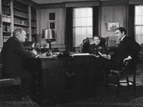 Bernard Lee (far left)  played spymaster M in the first 11 Bond movies
