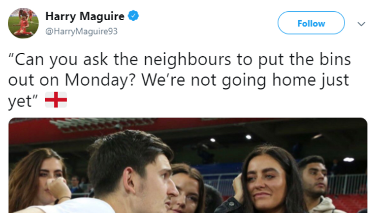 Maguire shared an image of him talking to his fiancee on twitter following thier win against Colombia