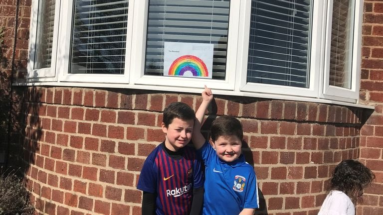 Rourke and Quinn are seen with their rainbow in Coventry