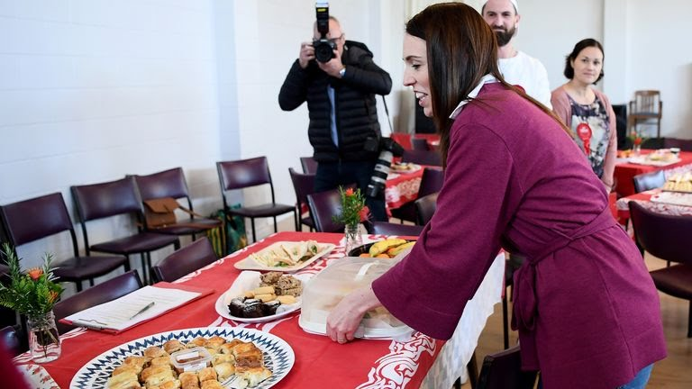 Ms Ardern brought the scones to thank volunteers at Polish House in Auckland
