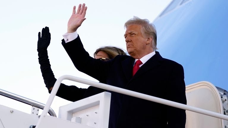 President Donald Trump and first lady Melania Trump board Air Force One at Andrews Air Force Base. Pic: AP